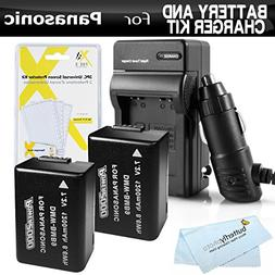 2 Pack Battery And Charger Kit For Panasonic Lumix DMC-FZ70,