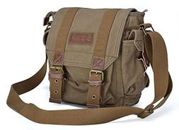 Gootium Canvas Messenger Bag - Small Vintage Shoulder Bag Cr