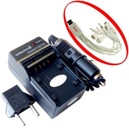 iTEKIRO AC Wall DC Car Battery Charger Kit for CA NP-40 HP V