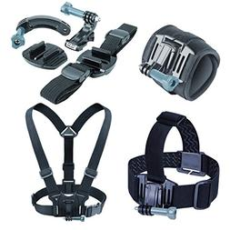 USA Gear Action Camera Mounting Bundle Including a Wrist, He