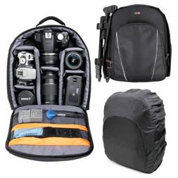 Black Compact Backpack w/ Rain Cover for Canon EOS M100 Came
