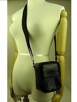 Compact Camera Genuine Leather Carry Shoulder Zip Bag Black