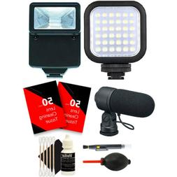 Compact LED Light + Slave Flash + Microphone + Top Cleaning