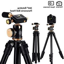 Compact Camera Tripod, BHUATO Lightweight Travel Tripod w/ 3