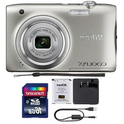 Nikon Coolpix A100 20.1MP Compact Digital Camera Silver with