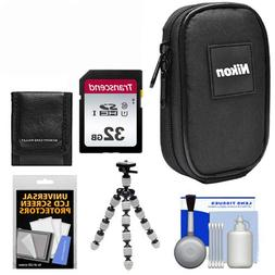 Nikon Coolpix Nylon Digital Camera Carrying Case with 32GB C