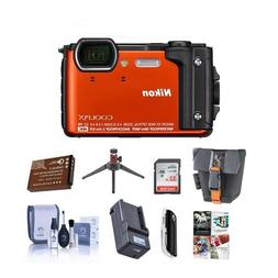 Nikon Coolpix W300 Point & Shoot Camera, Orange - Bundle wit