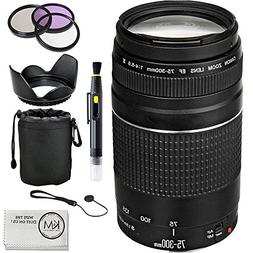 Canon EF 75-300mm f/4-5.6 III Lens + UV Filter + 3 Piece fil
