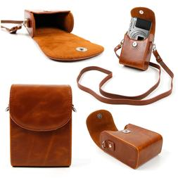 Faux Leather Vintage Brown Bag w/ Carry Strap for Olympus SH