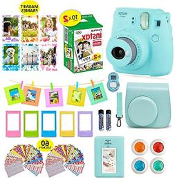Fujifilm Instax Mini 9 ICE Blue Camera + 20 Instant Film Twi