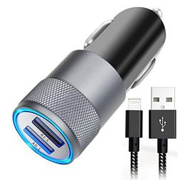 Car Charger, Aonear 3.1A Rapid Dual Port Fast USB Car Charge