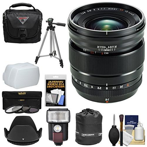 Fujifilm 16mm f/1.4 XF R WR Lens with Case + 3 Filters + Hoo