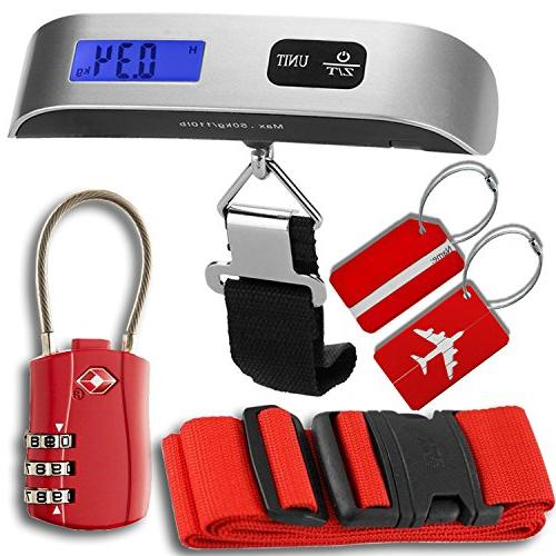 Luggage Accessories Kit, Luggage Scale with Tare Function, T