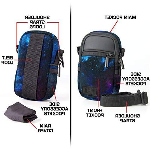 USA GEAR Compact Case & Camera Bag with Accessory Pockets, Cover & Shoulder Strap - Compatible W/Sony CyberShot, ELPH, & More