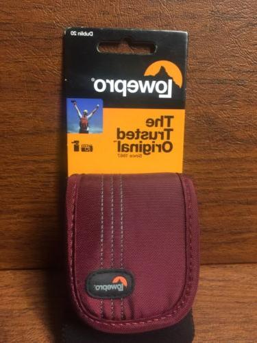 LowePro Dublin 20 Compact Camera Pouch Case Red Maroon