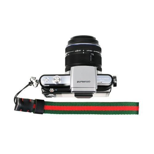 Red/Green Knitted Grosgrain Camera Wrist Strap for Sony/Cano