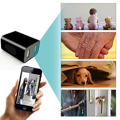 WIFI Hidden Camera - Spy Wall Charger App Remote View, Detection, Alarm Message, Charging Phones Nanny