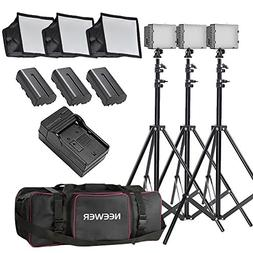 Neewer 3x 160 LED light kit Dimmable Ultra High Power Panel