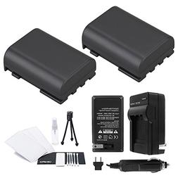 NB-2L/NB-2LH Battery 2-Pack Bundle with Rapid Travel Charger