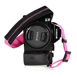 Foto&Tech Padded Neck Shoulder Strap with Hot Pink Grosgrain