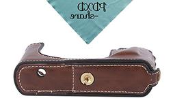 PDXD-share PU Leather Camera Half Case Bottom Opening Case f