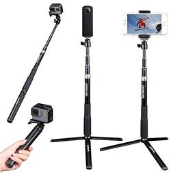 Smatree Extendable Selfie Stick 36.6'' with Tripod Stand for