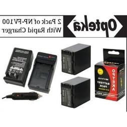 2 Pack of Sony NP-FV100 5 Hour Replacement Battery + Rapid A