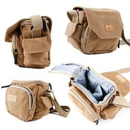DURAGADGET Tan Brown Medium Sized Canvas Carry Bag for New R
