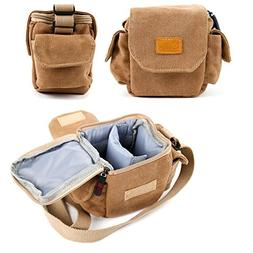 DURAGADGET Tan-Brown Small Sized Canvas Carry Bag for NEW Ol