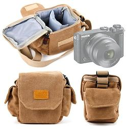 Tan-Brown Small Sized Canvas Carry Bag for Nikon 1 J5 Compac