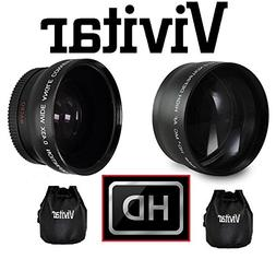 2-Pc HD Telephoto & Wide Angle Lens For Canon Vixia HF R72 R