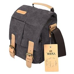 S-ZONE Vintage Small Waterproof Canvas Leather Trim DSLR SLR